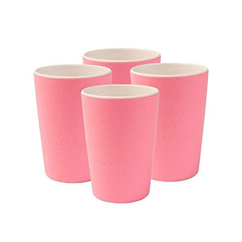 Bunte Trinkbecher aus Bambus, spülmaschinenfest, BPA frei I Picknickgeschirr Kinderbecher I 4 Stück Bambus Becher Kinder Natur weiß/rosa 300 ml ()
