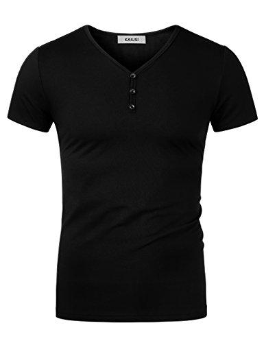 KAIUSI Herren Slim Fit mit V-Ausschnitt mit Knopf T-Shirt Schwarz-2 - Schwarz V-schnitt Shirt