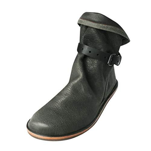 Kolylong® Damen Retro Leder Stiefel Schnalle Flache Stiefeletten Frauen Bequeme Schuhe mit Rutschfester Sohle Einfarbig Winter Kurz Stiefel Casual Boots Schlupf-Stiefel Schneestiefel Reitstiefel -