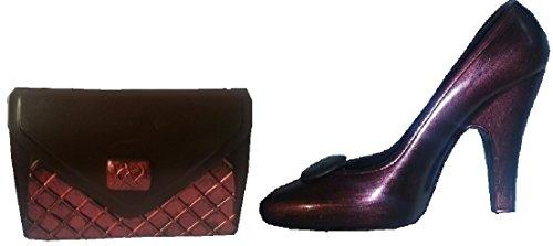 01#102718 Schokoladen Handtasche (T31) mit Schuh (S31) Muttertag, ROT-METALLIC; dunkle Schokolade, Stöckelschuh, High Heels, Geschenk, NEU