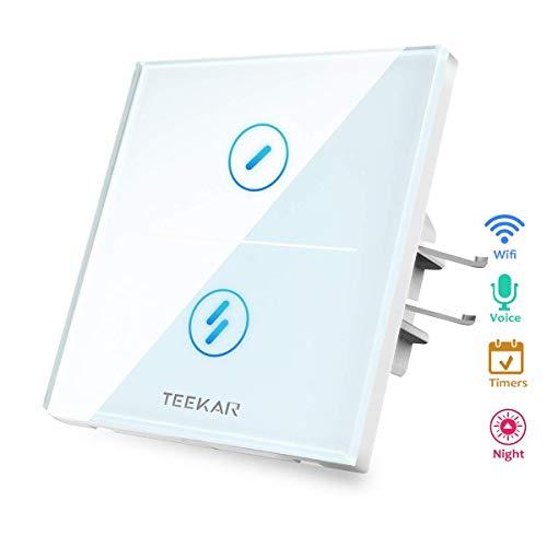 TEEKAR 【Schaltbare LED】 Digitale Zeitschaltuhr Smart Alexa Lichtschalter Kompatibel Mit Alexa/Google Home,WLAN Smarthome Schalter mit 80mm Schalterdosen Unterputz,APP Fernbedienung(2-Gang) -