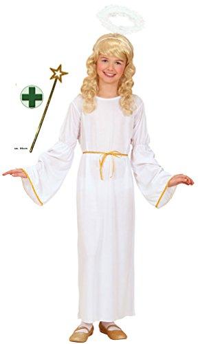 Karneval Klamotten Engel Kostüm Kinder Mädchen weiß-gold Mädchenkostüm Kleid lang inkl. Zauberstab Größe 128 (Engel Kostüm Für Kinder)