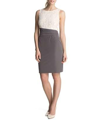 ESPRIT Collection Damen Etui Kleid mit Spitze, Knielang, Einfarbig, Gr. 44, Braun (DARK NOUGAT)