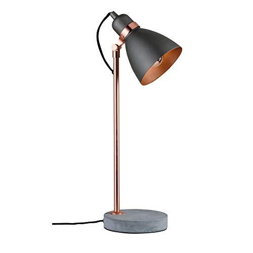 Paulmann 79624 Neordic Orm Tischleuchte max. 1x20W Tischlampe für E27 Lampen Nachttischlampe Grau/Kupfer matt 230V Metall/Beton ohne Leuchtmittel