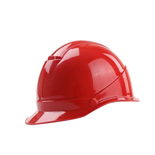 Helme Bau Gebäude Hut Kopf Helm Site Works Bau Sicherheitsverschluss ABS Material Arbeit Anti-Smashing Anti-Impact (Color : Red) ()