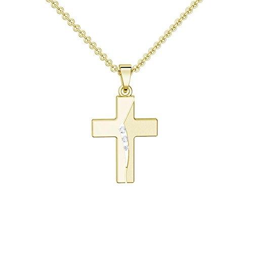 Kreuz Kette Gold (Silber 925 hochwertig vergoldet) mit Zirkonia + inkl. Luxusetui + Kreuzkette mit Stein wie Diamant Kreuzanhänger Anhänger Kommunion Konfirmation Taufkette FF429