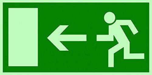 Symbolschild Fluchtweg Notausgang links DIN Folie nachleuchtend &. selbstklebend 300x150mm