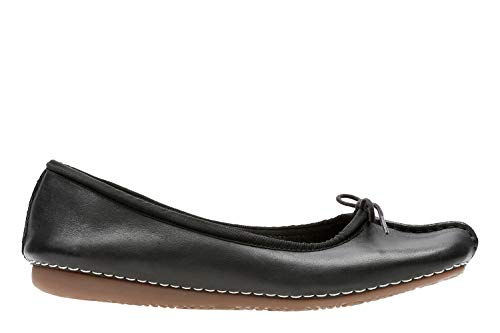 Clarks Freckle Ice, Ballerine Donna, Nero (Black Leather), 38 EU