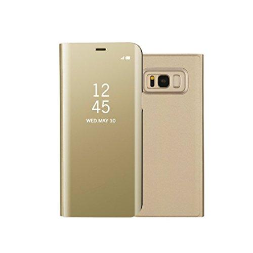 Preisvergleich Produktbild Samsung Galaxy S8 Fall,  iPro Zubehör ® Galaxy S8 Smart Wallet Fall,  Galaxy S8 Smart Flip Case [Smart Fenster Sleep Wake up] [Drop Widerstand] [kratzfest] (Flip) (Wallet) (Karte) (Spiegel Fall) (Ständer Fall) Ständer Halter Schutzhülle gold