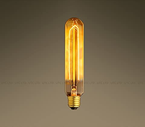 Unique-Store Vintage Industrial Edison Tungsten Filament Bulbs 40W/Screw E27/220v- TUBE BULB/T10