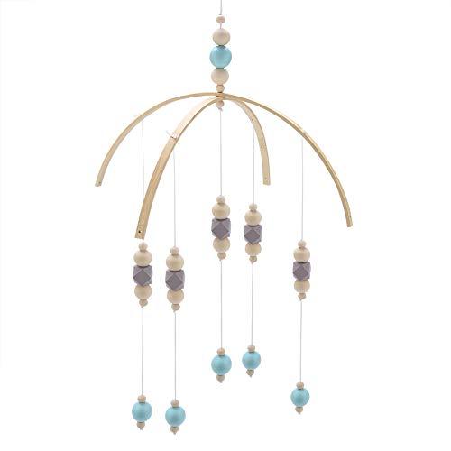 Perles en Bois Carillons éoliens Cloche à vent de style nordique Perles en bois carillons de vent pour enfants lit bébé mobile suspendu décor accessoires de photographie(gris bleu)