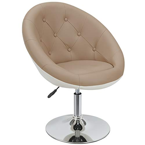 Duhome Sessel Cappuccino Weiß höhenverstellbar Kunstleder Clubsessel Coctailsessel Loungesessel - Typ 509A