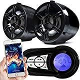 GoldenHawk 3 Waterproof Bluetooth Wireless Motorcycle Stereo Speakers 7/8-1 in. Handlebar Mount MP3