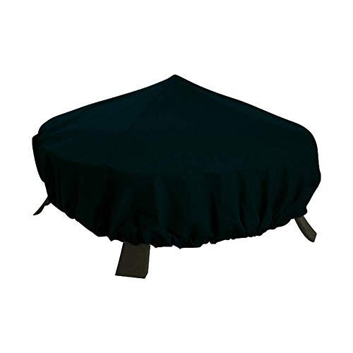 QEES Feuerschalen-Abdeckung, wasserfest, für den Garten, strapazierfähig, rund, für den Außenbereich, Terrassen-Heizung, Schutz für jedes Wetter, Schwarz