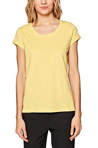 edc by ESPRIT Damen 999CC1K802 T-Shirt, Gelb (Yellow 2 751), Large (Herstellergröße: L) -