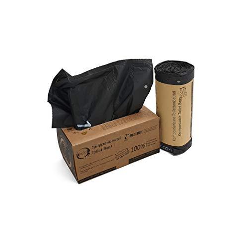 Rascan Toilettenbeutel | 40 Stück mit Zugband 22L | Die perfekten Beutel für Ihre Toiletteneimer, Campingtoilette, Biotoilette und Mobiltoilette | 100% biologisch abbaubar und kompostierbar | -