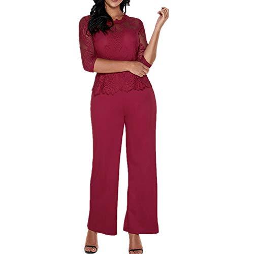 Lover-Beauty Damen Jumpsuit Schulterfrei Lang Hosen Overall Playsuit Hoher Taill Spielanzug mit Gurt