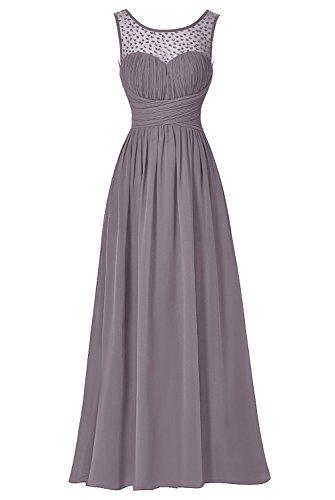 Bbonlinedress Robe de cérémonie Robe de demoiselle d'honneur col rond sans manches longueur ras du sol Gris