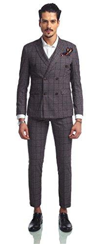 Pizoff Herren hippie faschion luxus Doppelreihiger Anzug Slim Fit 3 Teilig Superenger Blazer Sakko Anzughose Business Smoking karomuster AB002-13-M (Classic Kleidersack)