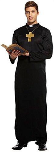 mit kreuz Religiös Junggesellenabschied Pfarrer und Torten Party Kostüm Kleid Outfit STD & XL - Schwarz, Schwarz, XX-Large (Vikar Kostüm)
