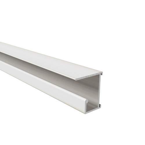 Homewell - Binario in alluminio da avvitare sotto i ripiani per cartelle sospese Lg 1000, 26x28x1000 mm, bianco laccato, 1