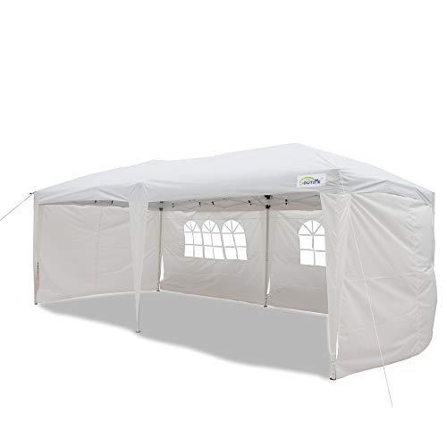 Goutime Falt Pavillon 3x6 Pop Up Partyzelt,4 Abnehmbare SeitenwäNde Und Tasche Mit RäDern (Weiß)