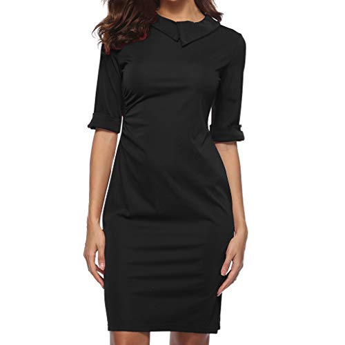 OVERDOSE Frauen Retro Bodycon Formale Büro OL Kleid Bleistift Kleid Zipper Damen Revers Business-Kleid Office Mini Dress(A-Black,EU-38/CN-L)
