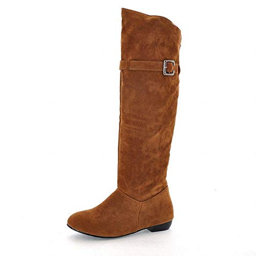 Damenschuhe - Herbst und Winter warme runde Kopf Matte hohe Stiefel/über dem Knie Schleifen Garn erhöht weibliche Stiefel (Farbe : Braun, Größe : 42)