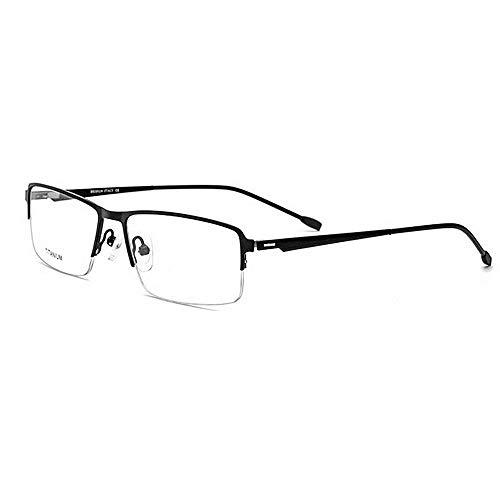 Sonnenbrillen Herren Leichte Titanlegierungs-Azetat-Faser Halb-Randlose quadratische Form-Flexible Geschäfts-Glasrahmen-Brillen mit klarer Linse zum Laufen Radfahren Angeln Fahren Golf