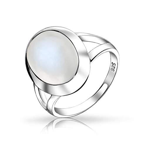 Bling Jewelry Oval Cabochon Lünette Edelstein Split Schaft Aussage Stimmung Mondstein Ring Für Damen Für Jugendlich Sterling Silber