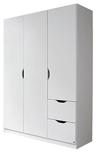 Rauch Kleiderschrank 3-türig mit 2 Schubkästen 136 x 197 x 54 cm alpinweiß skandinavisch Kinderzimmer Jugendzimmer