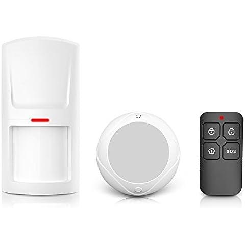 KIT JD-11 Antifurto Allarme Casa Kit,1 Plug-in ricevitore e 1 PIR sensore di movimento, Kit sistema di allarme senza fili