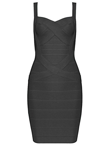 Whoinshop Frauen Rayon Nettes Sleeveless Bodycon Verband-B¨¹gel-Kleid schwarz M