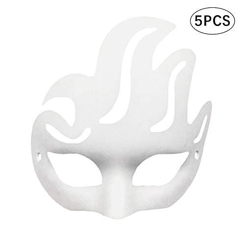 FJROnline 5 x Fuchsmaske Halloween Halbgesicht DIY Maske Weiß Japanische Cosplay Party Maske Papiermaske für Kinder Erwachsene m Phoenix - Phoenix Kostüm Kind