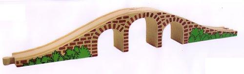 HOLZEISENBAHN ZUBEHÖR EISENBAHN BRÜCKE SCHIENE HOLZ 43cm - paßt zu allen gängigen Holzschienen - Holzspielzeug - für Holzeisenbahn (Brücke Holz)