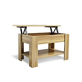 Laura James Lift up Top Coffee Table with storage and shelf (Black) living room