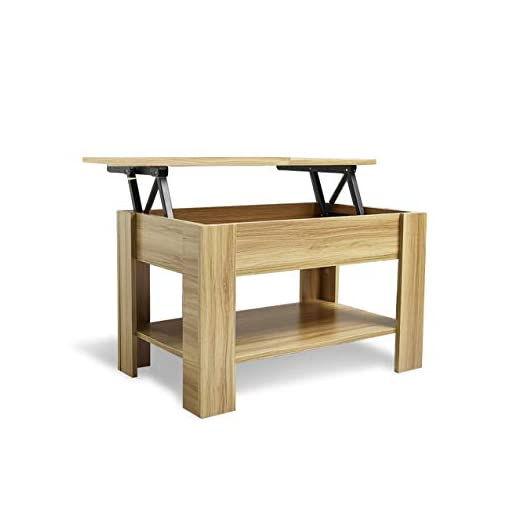Laura James White Lift up Top Coffee Table with storage and shelf for living room