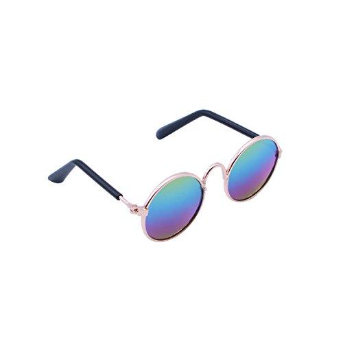 UKCOCO Mode Haustier Sonnenbrille, Haustier Hunde Brillen Sonnenbrille, Katzen Sonnenbrillen, Welpen Kätzchen Coole Gläser Haustier Fotos Requisiten (Blau-Grün)