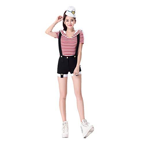 Jugendliche Sailor Für Kostüm - HOOLAZA Frauen Black Navy Sailor Kostüm Jugendlich und Hübsch 3-teilig Kostüm-Set