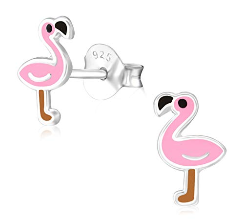 Laimons Mädchen Kids Kinder-Ohrstecker Ohrringe Kinderschmuck Flamingo Vogel Tier Süß Rosa Braun 6 X 8mm aus Sterling Silber 925