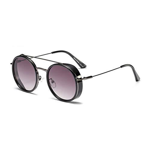 TYJYTM Herren Schild Sonnenbrille Frauen Runde Vintage Sommer Trendige Sonnenbrille Für Männer Metallrahmen Uv400 Unisex