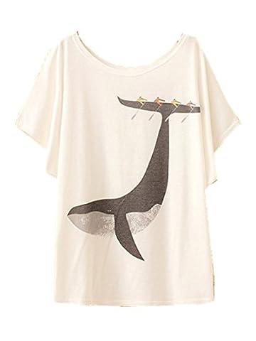 YICHUN Women Girls T-Shirt Thin Tops White Batwing Sleeve Tees