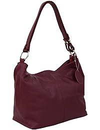 9129fca444778 AMBRA Moda Damen Leder Handtasche Schultertasche Umhängetasche Hobo bag  GL005