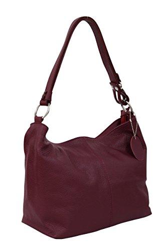 AMBRA Moda Damen Leder Handtasche Schultertasche Umhängetasche Hobo bag GL005 (Bordeaux) (Leder-hobo Rote)