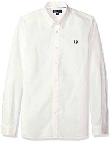 Fred perry uomo camicia di cotone nastro trim xl bianco come la neve