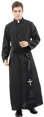 Generique - Priester-Herrenkostüm schwarz-Weiss XL (Priester Kostüm Weiß)