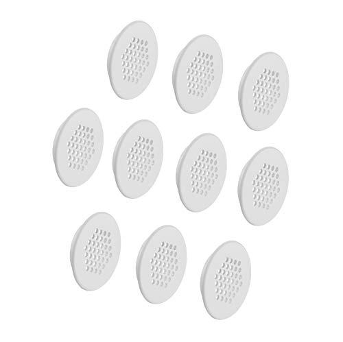 Runde Gitter (Gedotec Möbel-Gitter rund Lüftungsgitter rund Abluftgitter weiß mit Lamellen für Möbel - Türen - Wohnmobil & Wände   Belüftungsgitter Ø 48 mm   MADE IN GERMANY   10 Stück - Türgitter Kunststoff weiß)