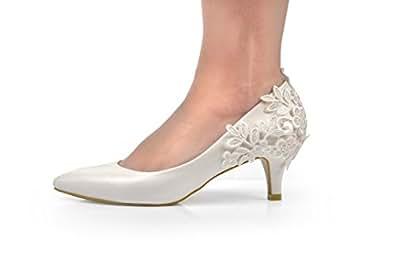 nouveau ivoire dentelle crochet talons mi hauts de mariage pompes chaussures de mari 39 e amazon. Black Bedroom Furniture Sets. Home Design Ideas