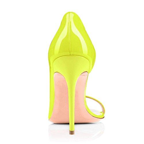 EDEFS - Escarpins Femmes - Peep Toe Sandales - Talon Haut Aiguille - 120mm Stiletto - High Heels Chaussures Jaune