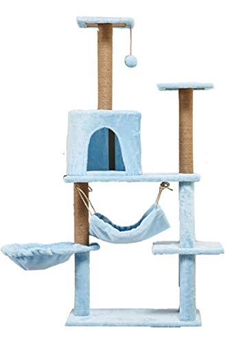Cat Tree Condo Furniture Multi-Level-Deluxe und Seilkätzchen Activity Tower Pet Kitty Spielhaus mit Kratzbäumen Hängematte